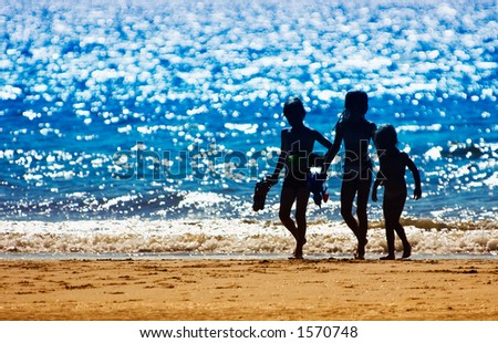 kids on the beach in summer