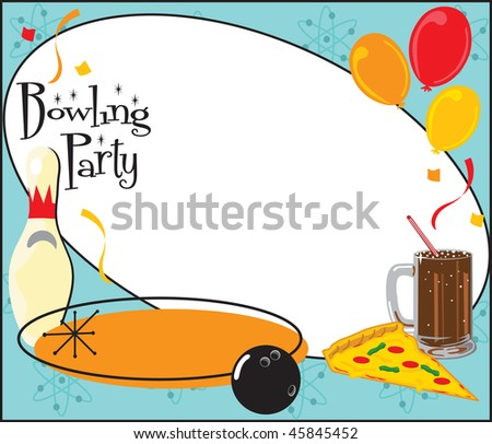stock photo : Kids or adult Bowling Birthday party or team party invitation