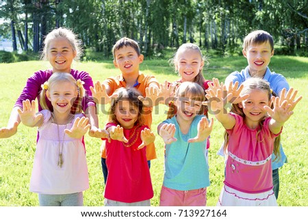 Kids outside in park #713927164