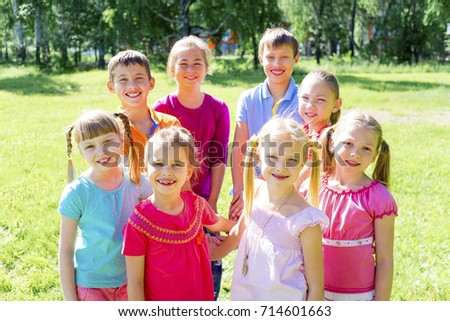 Kids outside in park #714601663