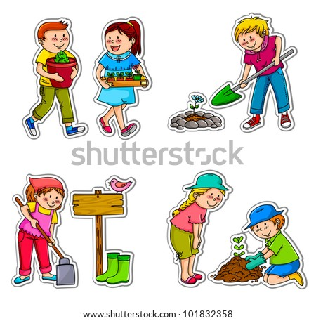 kids planting things and working in the garden (vector available in my portfolio)