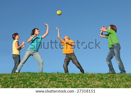 kids playing ball - stock photo