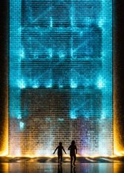 Kids Playing In The Water At Crown Fountain Chicago