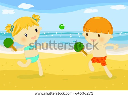 kids playing rackets on the beach at seaside