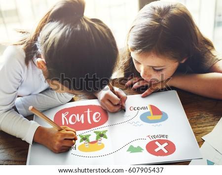 Kids playing treasure hunt graphic #607905437
