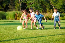 Kids playing with the ball