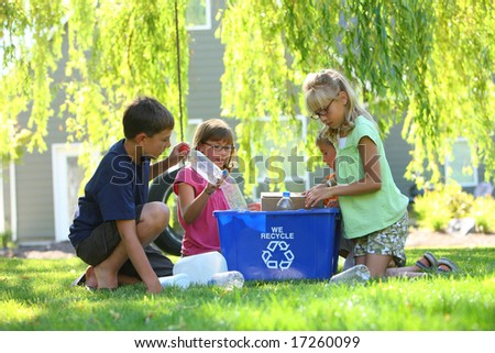 Kids recycling outdoors