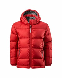 Kids' red hooded warm sport puffer jacket isolated over white background. Ghost mannequin photography
