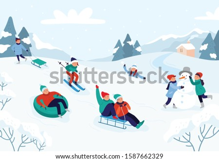 Kids riding sledding slide. Snow landscape, winter snowy fun activities. Sled speed riding or childhood holiday sledge ride game activity  illustration