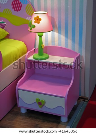 Kids room night table. Colorful night table.\\ Pink bedside table.