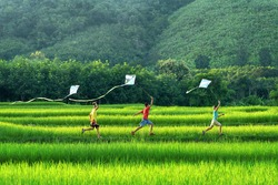 Kids running with kites at Thai green fields