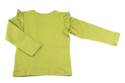 Kids shirt isolated. A beautiful gree long sleeved t-shirt  for the little girl isolated on a white background. Fashion for children.