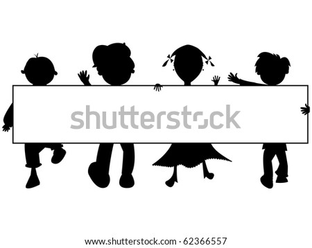 kids silhouettes banner against white background, abstract art illustration; for vector format please visit my gallery