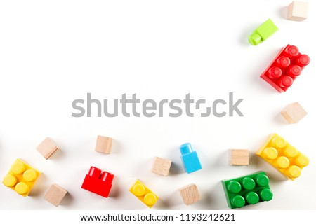 Kids toys background with colorful blocks