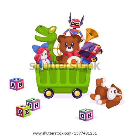 Kids toys box. Toy kid child play game bear pyramid ball train yacht horse doll duck boat plane car rabbit, flat illustration