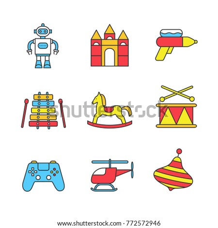 Kids toys color icons set. Robot, castle blocks, water gun, xylophone, rocking horse, humming top, gamepad, helicopter, drum. Isolated raster illustrations