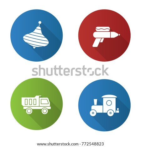 Kids toys flat design long shadow glyph icons set. Humming top, water gun, toy truck and train. Raster silhouette illustration