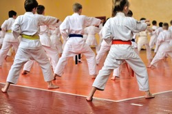 Kids training on karate-do. Banner with space for text. For web pages or advertising printing. Photo without faces, from the back.