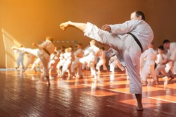 Kids training on karate-do. Banner with space for text. For web pages or advertising printing. photo without faces