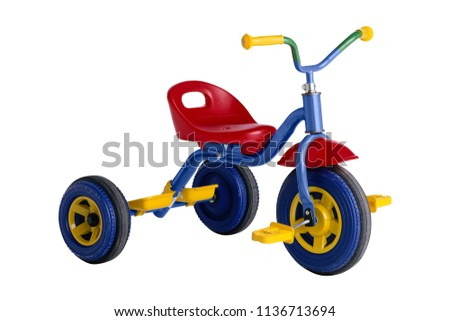 kids tricycle isolated on white background - Shutterstock ID 1136713694