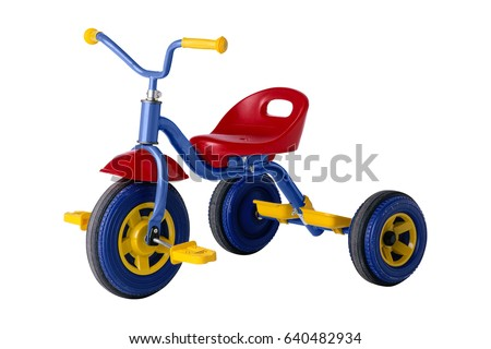 kids tricycle isolated on white background - Shutterstock ID 640482934