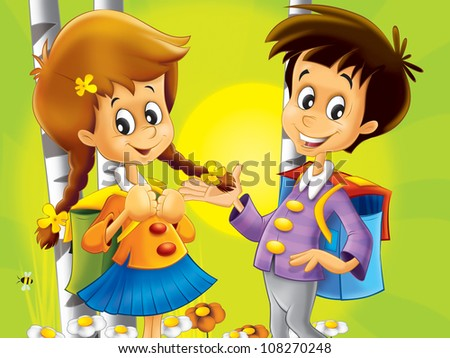 Kids walking together - nice illustration for children - happiness - fun - free time 2