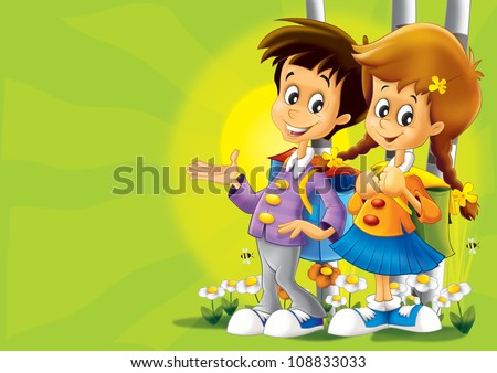 Kids walking together - nice illustration for children - happiness - fun - free time - leisure