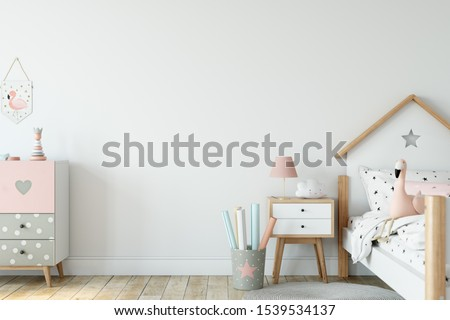Kids Wall mock up. Kids interior. Scandinavian interior. 3d rendering, 3d illustration Foto stock ©