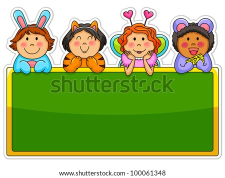 Kids wearing costumes leaning over a blank blackboard (vector available in my portfolio)