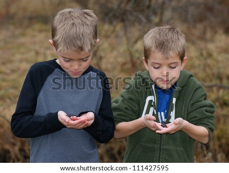 Kids with animals - stock photo