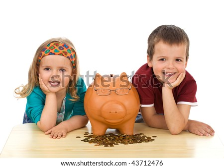 Kids with coins and a piggy bank - financial education concept, isolated