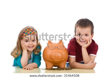 Kids with their expert piggy bank - financial education concept, isolated