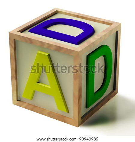 Kids Wooden Block Spelling Dad As Symbol for Fatherhood And Parenting
