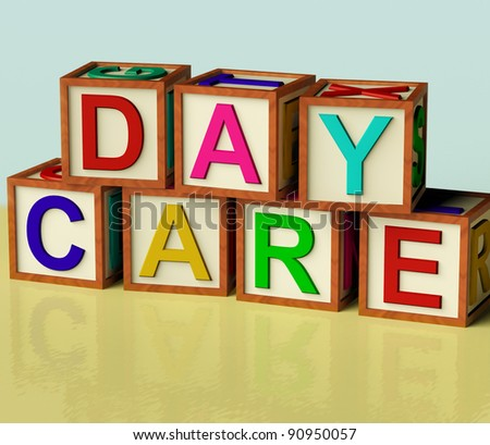 Kids Wooden Blocks Spelling Day Care As Symbol for Preschool and Kindergarden