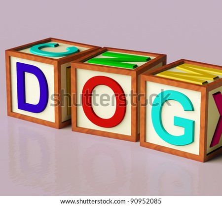 Kids Wooden Blocks Spelling Dog As Symbol for Dogs And Pets