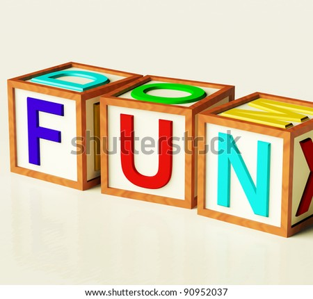 Kids Wooden Blocks Spelling Fun As Symbol for Enjoyment And Playing