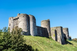 Kidwelly Castle fortress Carmarthenshire South Wales UK a 13th century Norman medieval fort a popular travel destination landmark stock photo image
