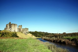 Kidwelly Castle, Kidwelly, Carmarthenshire, Wales, UK is a ruin of a 13th century medieval castle