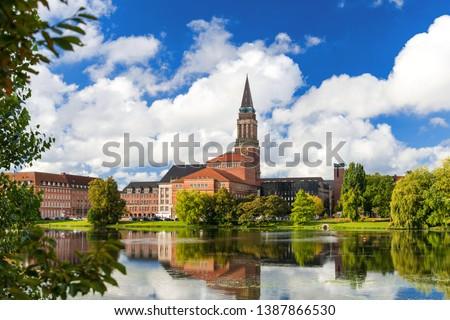 Kiel city centre with town hall, opera house and the Small Kiel #1387866530