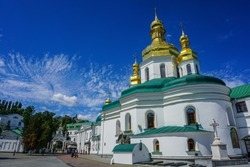 Kiev Great Lavra Vvedenskiy Church Back View with Blue Sky Background
