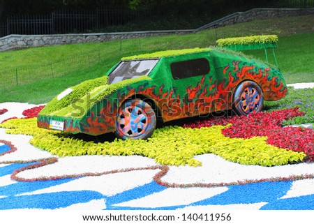 KIEV - MAY 26: Flower cars exhibition at Singing meadow on May 26, 2013 in Kiev, Ukraine.
