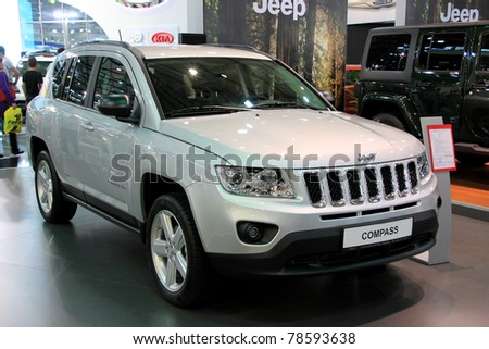 """KIEV - MAY 26: Jeep Compass at yearly automotive-show """"SIA 2011"""". May 26, 2011 in Kiev, Ukraine."""
