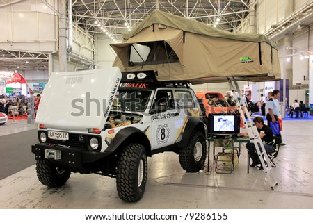 "KIEV - MAY 26: Niva 4x4 at yearly automotive-show ""SIA 2011"". May 26, 2011 in Kiev, Ukraine."
