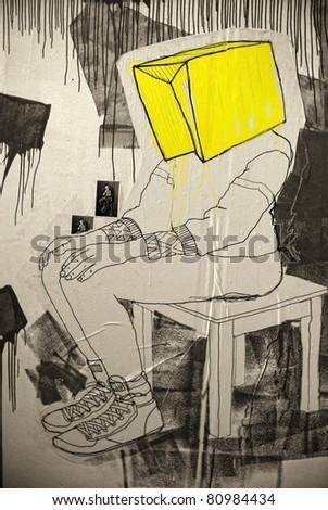 "KIEV - NOVEMBER 14: Picture ""Man with head-box on chair"" on Fifth International Art-Fair of Art-Kiev Contemporary on November 14, 2010 in Kiev."