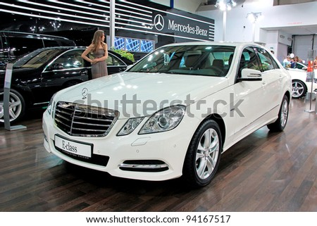 "KIEV - SEPTEMBER 10: Mercedes-Benz E-class at yearly automotive-show ""Capital auto show 2011"". September 10, 2011 in Kiev, Ukraine."