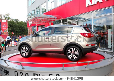 "KIEV - SEPTEMBER 11: New generation of Kia Sportage at the yearly automotive-show ""Capital auto show 2011"". September 11, 2011 in Kiev, Ukraine. - stock photo"