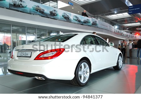 """KIEV - SEPTEMBER 11: New generation of the Mercedes-Benz CLS-class at the yearly automotive-show """"Capital auto show 2011"""". September 11, 2011 in Kiev, Ukraine."""