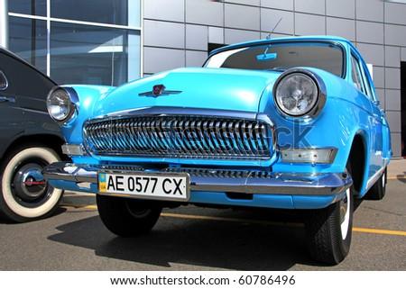 "KIEV - SEPTEMBER 10: Yearly automotive-show ""Retro auto show 2010"". September 10, 2010 in Kiev, Ukraine. Blue GAZ ""Volga"" (Soviet-made automobile) - stock photo"