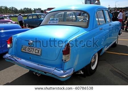 "KIEV - SEPTEMBER 10: Yearly automotive-show ""Retro auto show 2010"". September 10, 2010 in Kiev, Ukraine. Blue GAZ ""Volga"" (Soviet-made automobile)"
