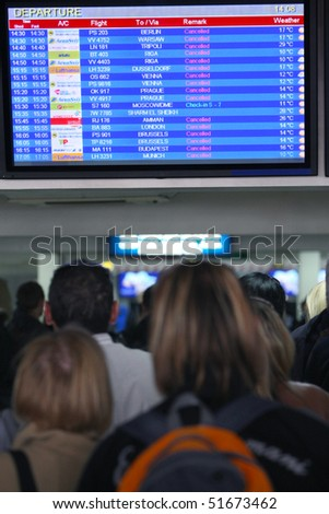 KIEV, UKRAINE - APR 20: Passengers at airport Boryspil expect flights which have cancelled because of volcanic eruption in Iceland. April 20, 2010 in Kiev, Ukraine.